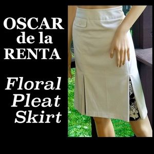 ▪️OSCAR de la RENTA▪️Floral Pleat Pocket Skirt